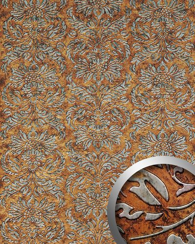Panel decorativo autoadhesivo diseño barroco WallFace 14801 IMPERIAL damasco relieve 3D negro cobre vintage 2,60 m2  – Imagen 1