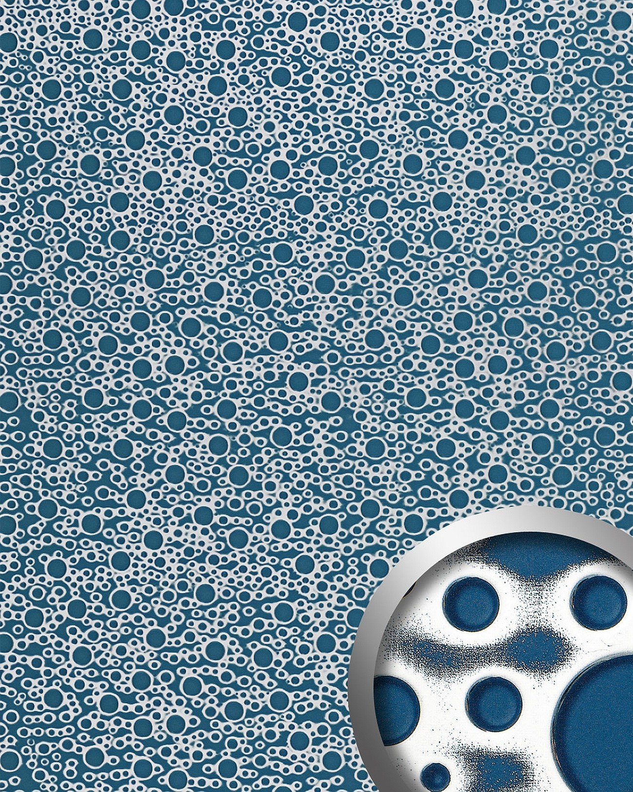 Wandpaneel 11712 BUBBLE Kunststoff Retro 70ies 3D Optik Blau Silber