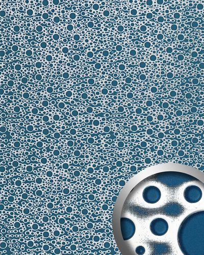 Wandpaneel 11712 BUBBLE Kunststoff Retro 70ies 3D Optik Blau Silber – Bild 1