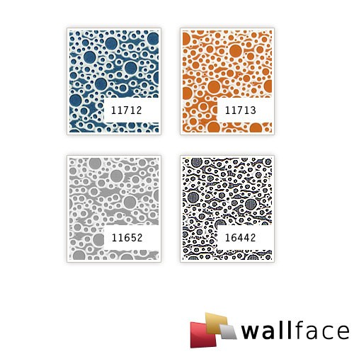 Panel decorativo autoadhesivo de diseño burbujas con relieve 3D WallFace 11713 BUBBLE color naranja plata 2,60 m2  – Imagen 4