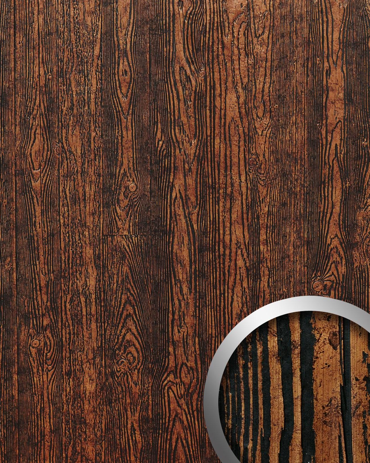 Pannello per interni effetto legno marrone rame nero WallFace ...