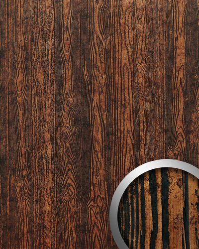 Panel decorativo autoadhesivo diseño madera con relieve 3D WallFace 14807 WOOD Color marrón cobre negro 2,60 m2  – Imagen 1