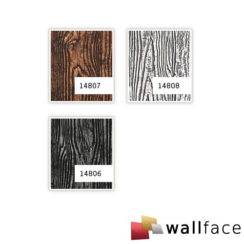 Panel decorativo autoadhesivo diseño madera con relieve 3D WallFace 14808 WOOD Color plata mate y brillante 2,60 m2  – Imagen 2