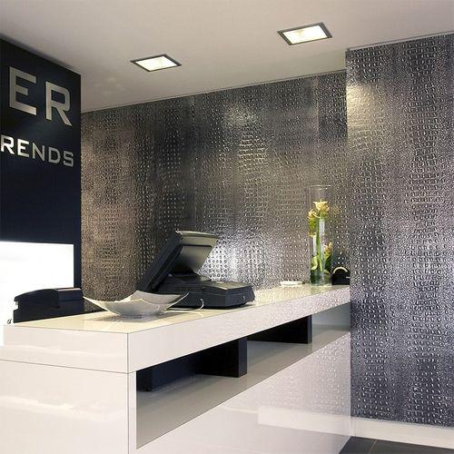 Wandpaneel 3D WallFace 13521 CROCO Design Platte Struktur Blickfang Dekor selbstklebende Tapete schwarz silber | 2,60 qm – Bild 2