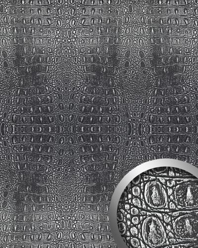 Wandpaneel 3D WallFace 13521 CROCO Design Platte Struktur Blickfang Dekor selbstklebende Tapete schwarz silber | 2,60 qm – Bild 1