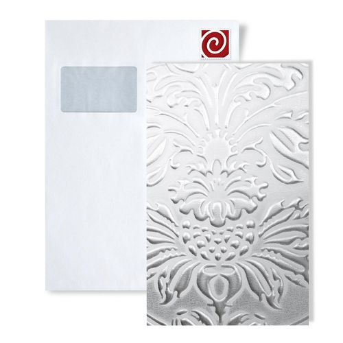 1 MUSTERSTÜCK S-14794-SA WallFace IMPERIAL WHITE/SILVER Leather Collection | Dekorpaneel MUSTER in ca. DIN A4 Größe – Bild 1