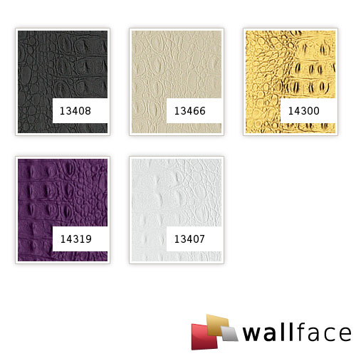 1 PIEZA DE MUESTRA S-13408-SA WallFace CROCO BLACK Leather Collection | Muestra panel decorativo en tamaño aprox DIN A4 – Imagen 3
