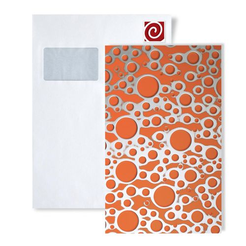 1 PROEFMONSTER S-11713-SA WallFace BUBBLE ORANGE/SILVER Structure Collection | Wandbekleding STAAL in ongeveer A4-formaat – Bild 1