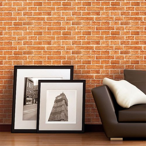 Wallpaper wall covering rustic brick EDEM 583-23 decorative vintage mural stone look vinyl orange-brown – Bild 3