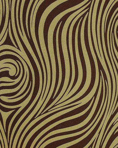 Grafik Tapete EDEM 1016-15 Zebra-Streifen Tapete Struktur-Muster hochwaschbare Oberfläche olivegrün braun – Bild 1
