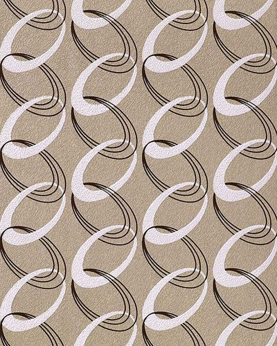 70s style retro rings textured wall covering fashion EDEM 1017-13 wallpaper vinyl light brown-beige white brown – Bild 1