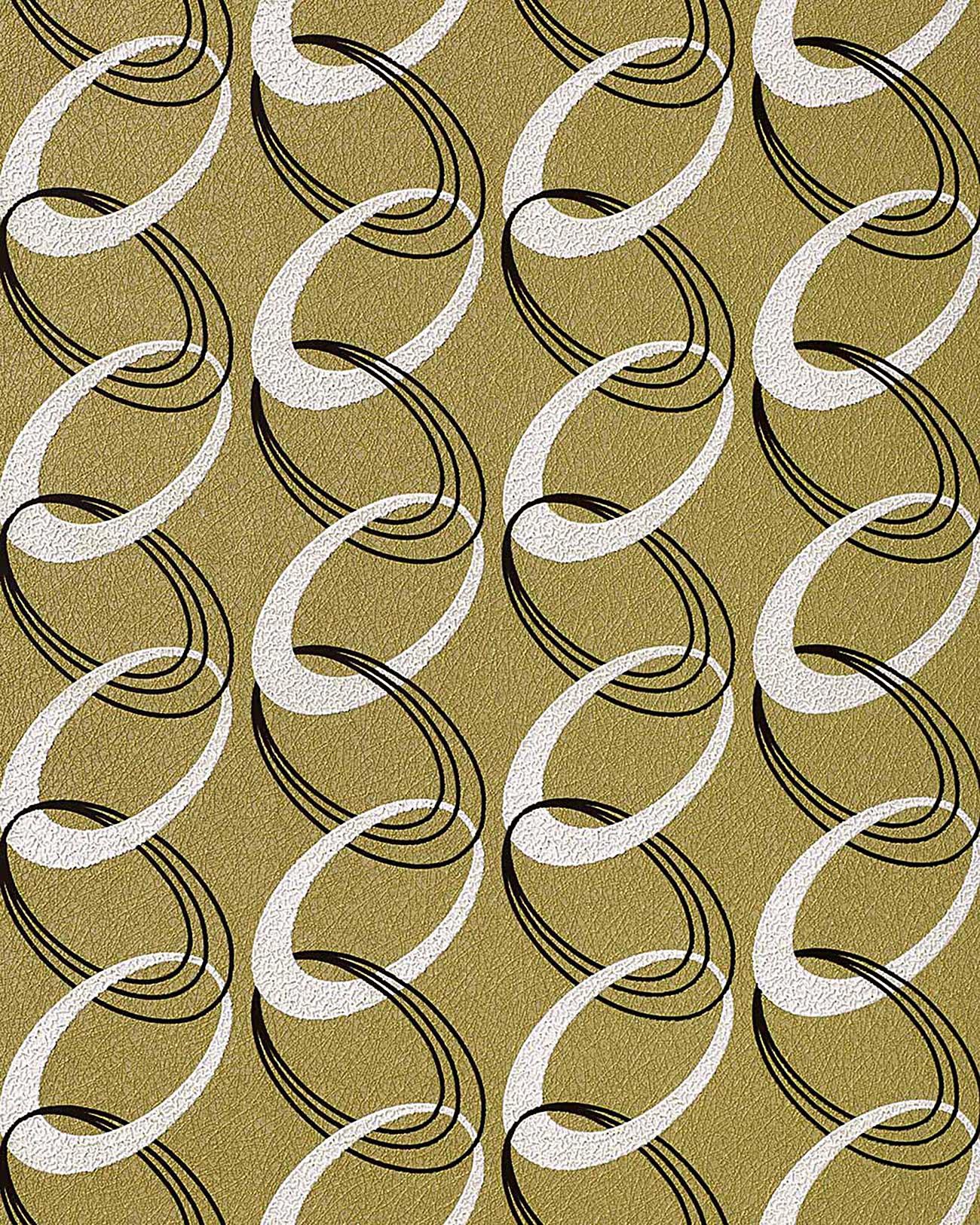 jaren 70 interieur behang edem 1017 15 retro behang olijfgroen wit zwart
