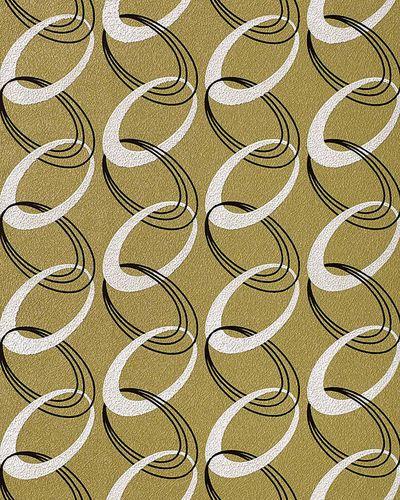 Retro Tapete EDEM 1017-15 Retrotapete Fashion Designer 70er Retro Tapete Ketten Muster hochwaschbare Oberfläche olivgrün weiß schwarz – Bild 1