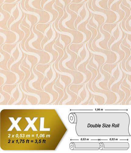 Wave stripes wall wallpaper EDEM 699-93 Wall covering non-woven stripes textured pattern brown-beige nature white  – Bild 1