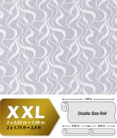 Wave stripes wall wallpaper EDEM 699-96 Wall covering non-woven stripes textured pattern grey nature white  001