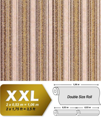 Stripes snake textured wallpaper vintage wallcovering non-woven wall EDEM 938-33 olive brown light brown beige gold  – Bild 1