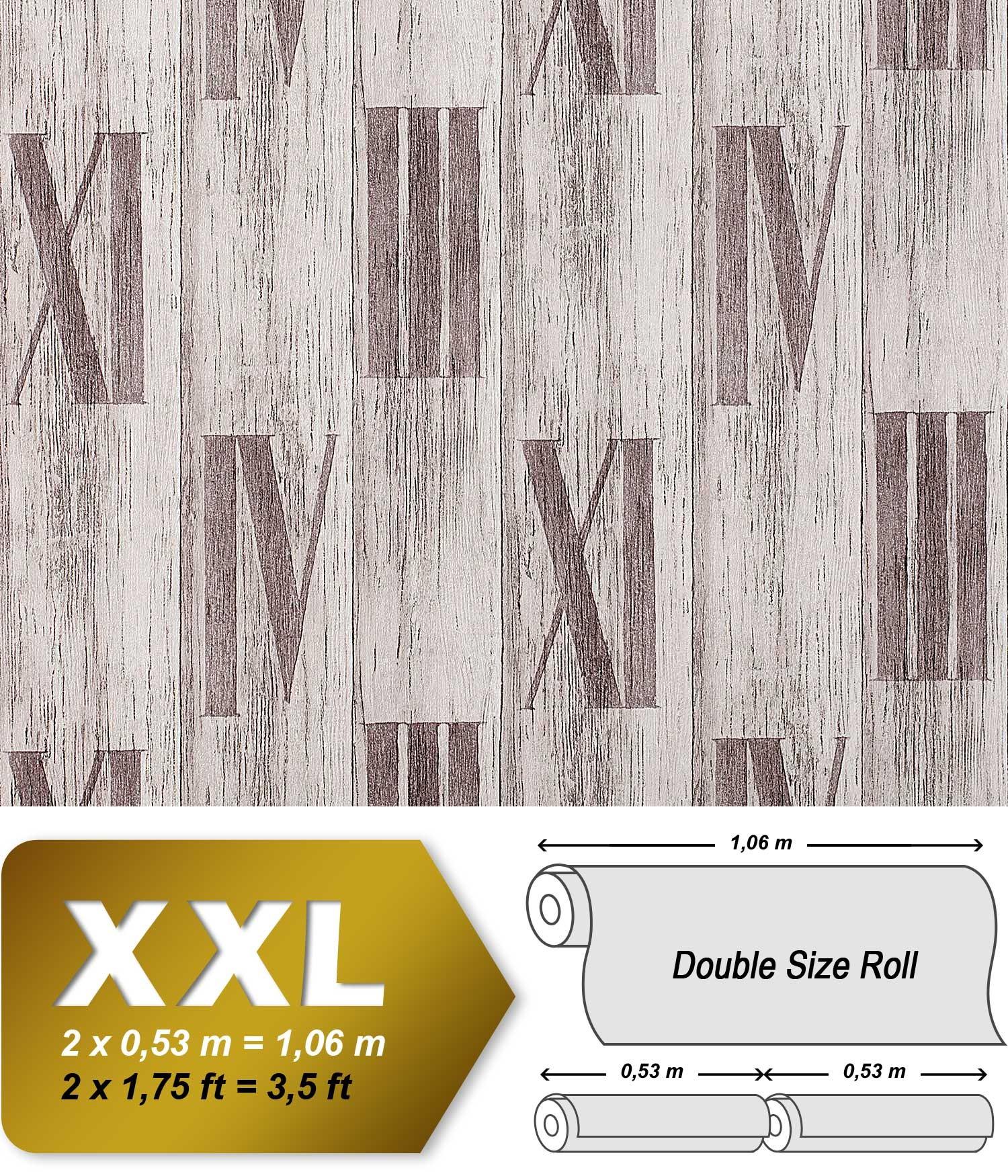 Holz Tapete Vliestapete EDEM 945 24 Geprägte Tapete Holzoptik Dielen  Römische Zahlen Deko Eiche Weiß