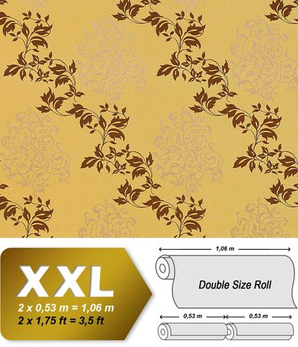Luxury floral wallpaper wall non-woven EDEM 946-22 Wallcovering classic leaf decor mustard yellow beige copper  – Bild 1