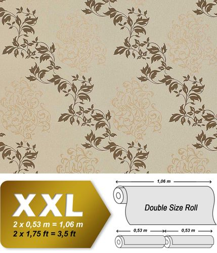 Luxury floral wallpaper wall non-woven EDEM 946-25 Wall covering classic leaf decor cocoa brown brown-grey bronze  – Bild 1