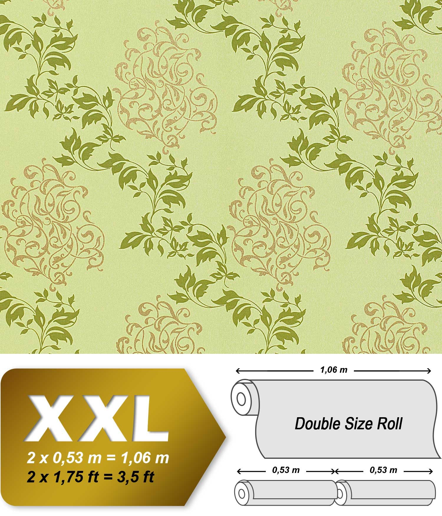 Luxury Floral Wallpaper Wall Non Woven EDEM 946 28 Covering Classic Leaf Decor Yellow Green Apple Gold