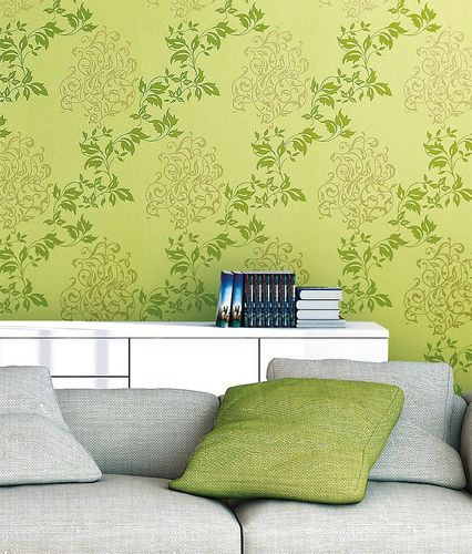 Luxury floral wallpaper wall non-woven EDEM 946-28 Wall covering classic leaf decor yellow-green apple green gold  – Bild 3