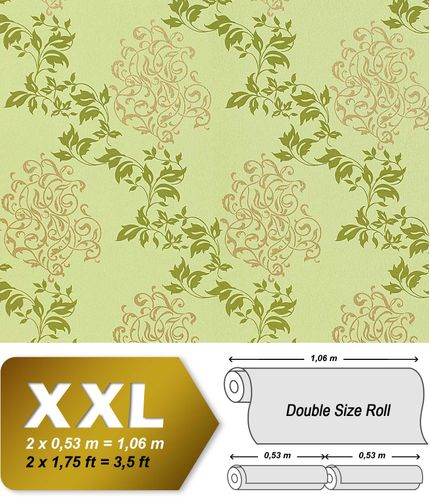 Luxury floral wallpaper wall non-woven EDEM 946-28 Wall covering classic leaf decor yellow-green apple green gold  – Bild 1