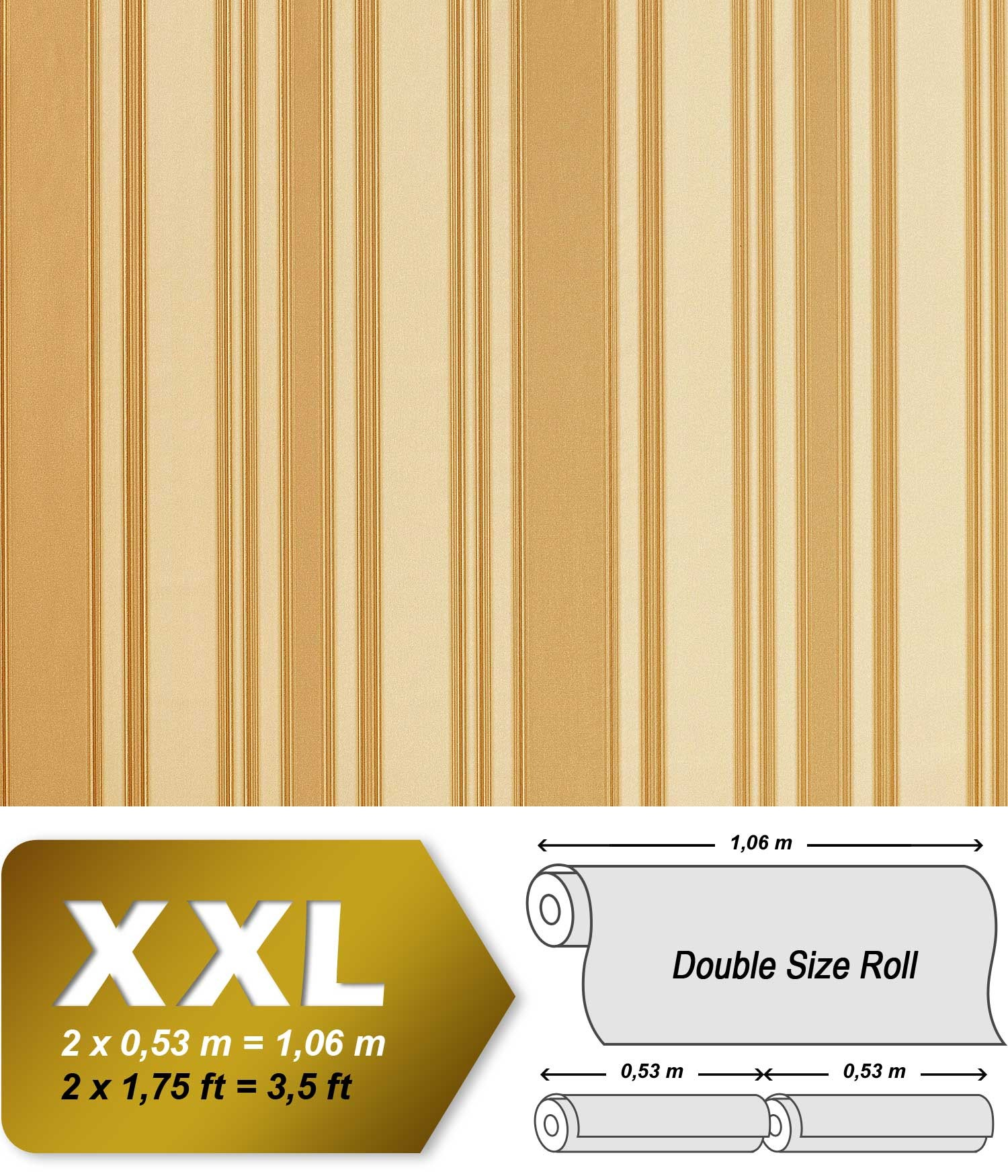 Xxl papier peint de luxe edem 980 32 intiss relief motif rayures n obaroque beige cr me caramel for Papier peint luxe