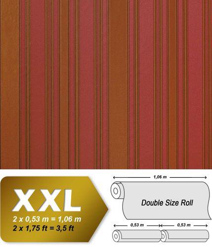 Streifen Tapete Vliestapete EDEM 980-35 Hochwertige XXL Tapete gestreiftes Struktur-Dekor erdbeer-rot goldbraun 10,65 qm – Bild 1