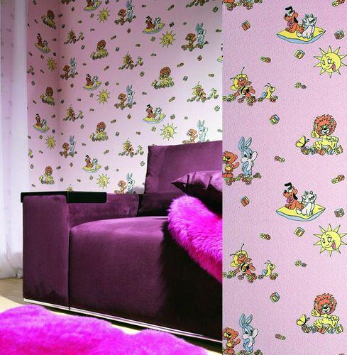 Kindertapete EDEM 007-25 Kinder-Zimmer Tapete Vinyl mit Motiven Löwe Hase Biene Sonne bunte farben pastell-grün – Bild 3