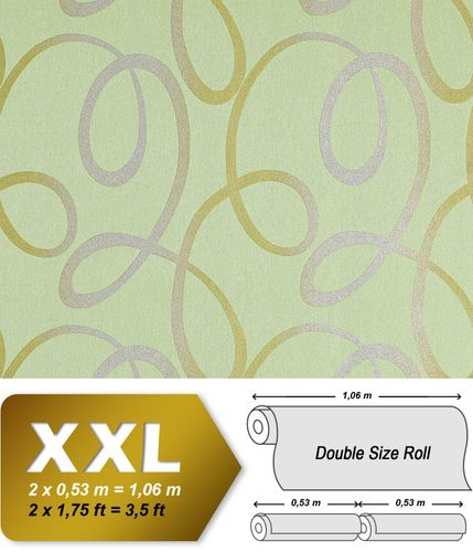 Abstract lines wallcovering non-woven wallpaper wall EDEM 694-95 glitter stripes light green silver olivegold  – Bild 1