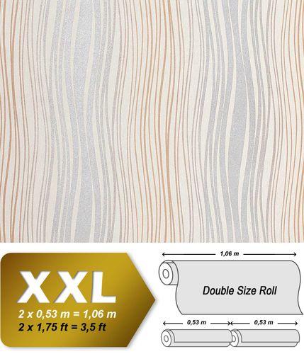 Streifen Tapete Vliestapete EDEM 695-91 Design Tapete geschwungene Linien Glitzereffekt creme silber-grau braun 10,65 qm – Bild 1