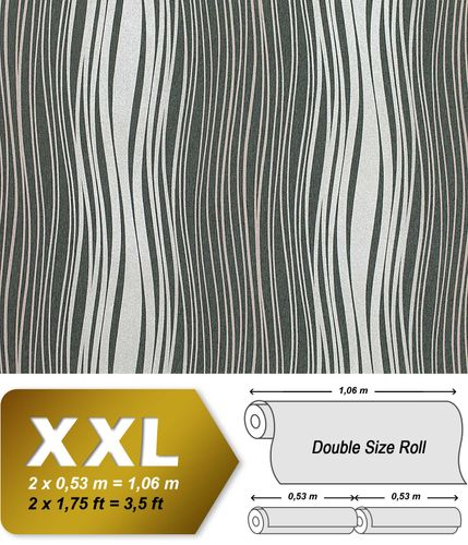 Abstract textured glitter stripes wallpaper wall non-woven covering EDEM 695-96 dark grey silver grey  – Bild 1