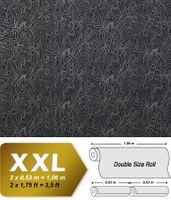 Paisley pattern wallpaper wall EDEM 698-96 Wall covering non-woven quality textured black grey-white