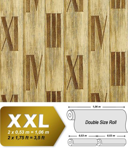 Wood planks wallpaper wall non-woven wallcovering EDEM 945-22 Textured roman numbers antique olive tree green  – Bild 1