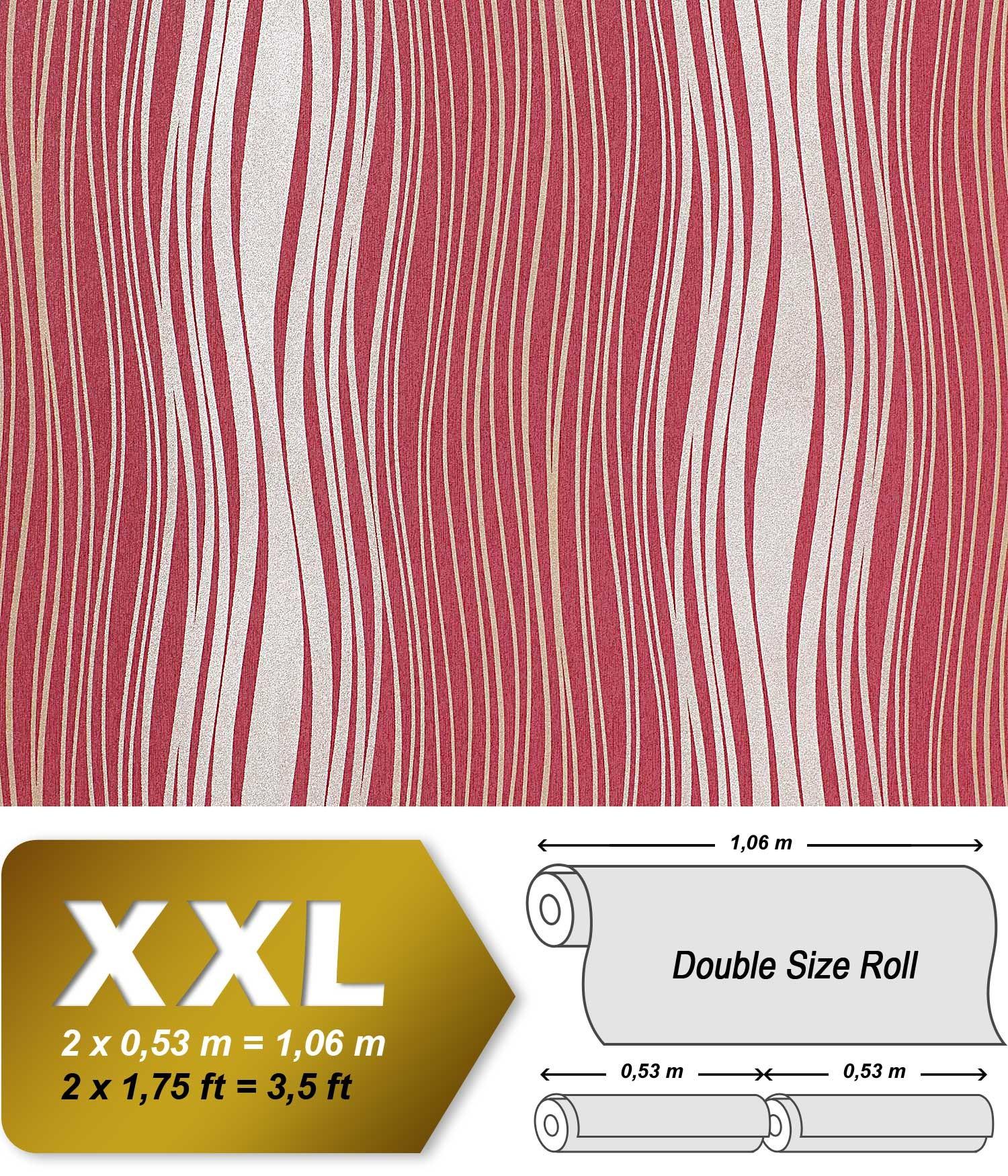streifen tapete vliestapete edem 695 94 designer tapete geschwungene linien himbeer rot silber. Black Bedroom Furniture Sets. Home Design Ideas