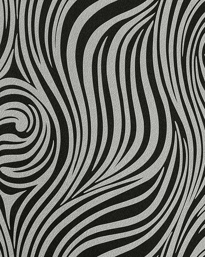 Fashion zebra style wallcovering wall wallpaper EDEM 1016-16 texture striped vinyl extra washable black silver-grey – Bild 1