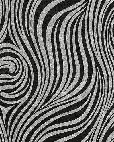Grafik Tapete EDEM 1016-16 Zebra-Streifen Tapete Struktur-Muster hochwaschbar schwarz anthrazit silbergrau – Bild 1