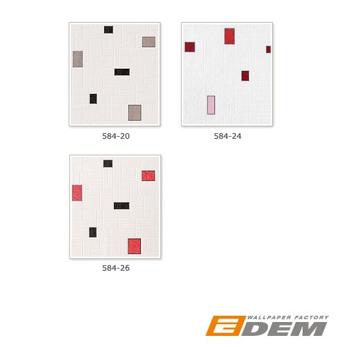 Wallpaper wall covering washable EDEM 584-26 vinyl modern mosaic tile decor white black silver grey red  – Bild 4