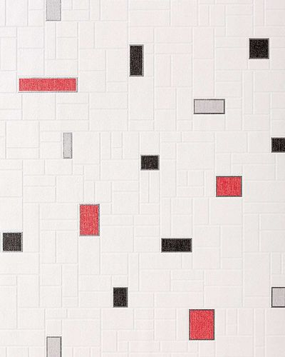 Wallpaper wall covering washable EDEM 584-26 vinyl modern mosaic tile decor white black silver grey red  – Bild 1