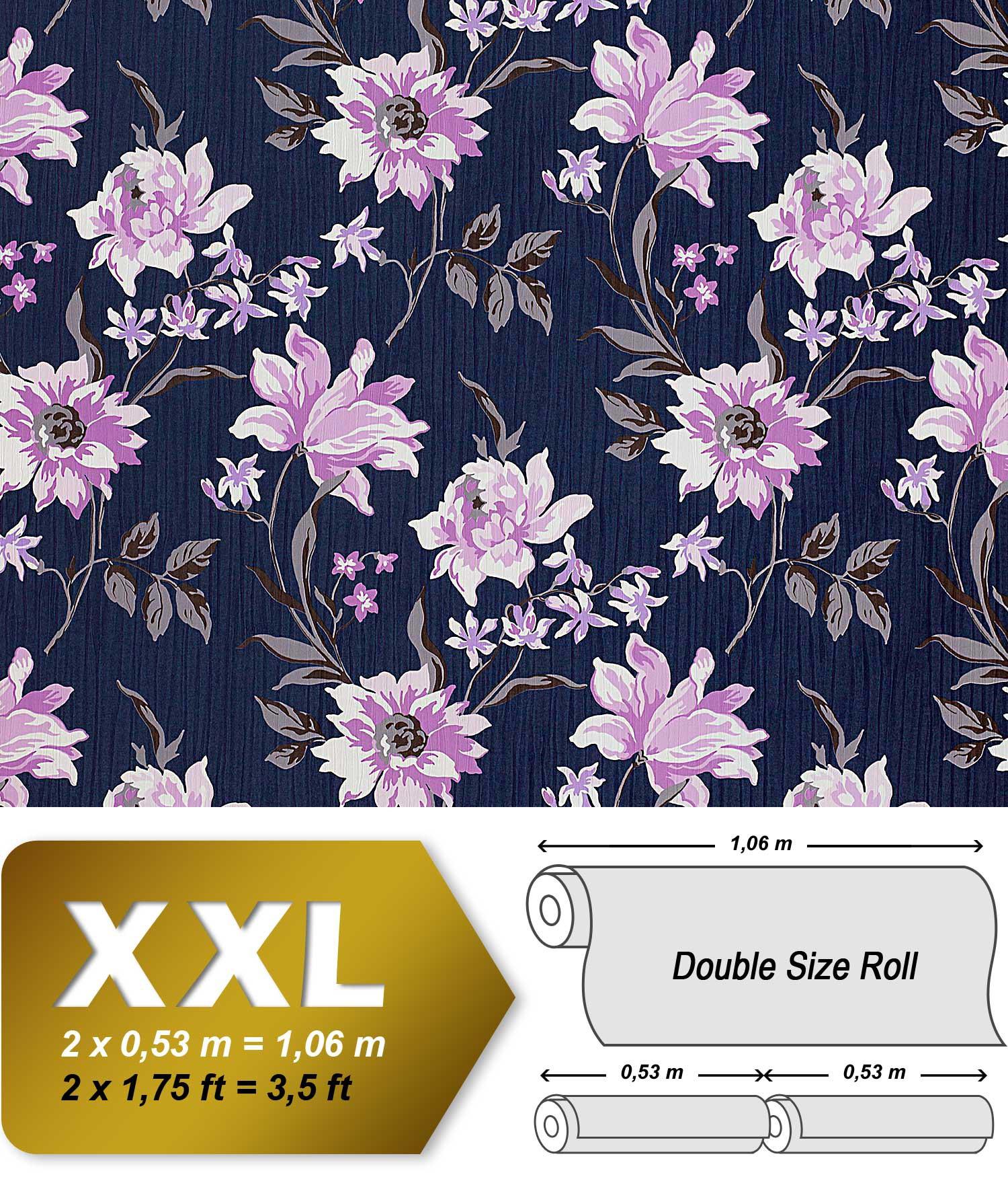 Bloemen behang EDEM 900-14 paars met textiel structuur blauw ...