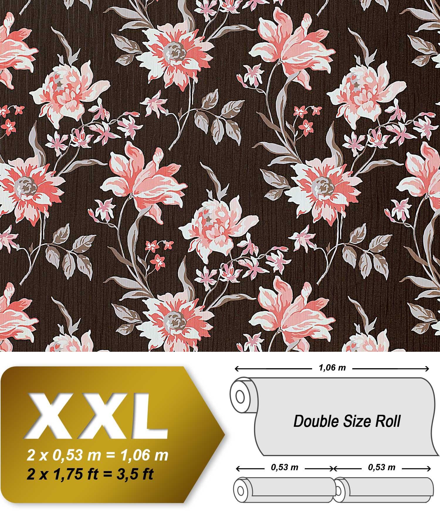 Bloemen behang EDEM 900-15 roze met textiel structuur bruin oud ...