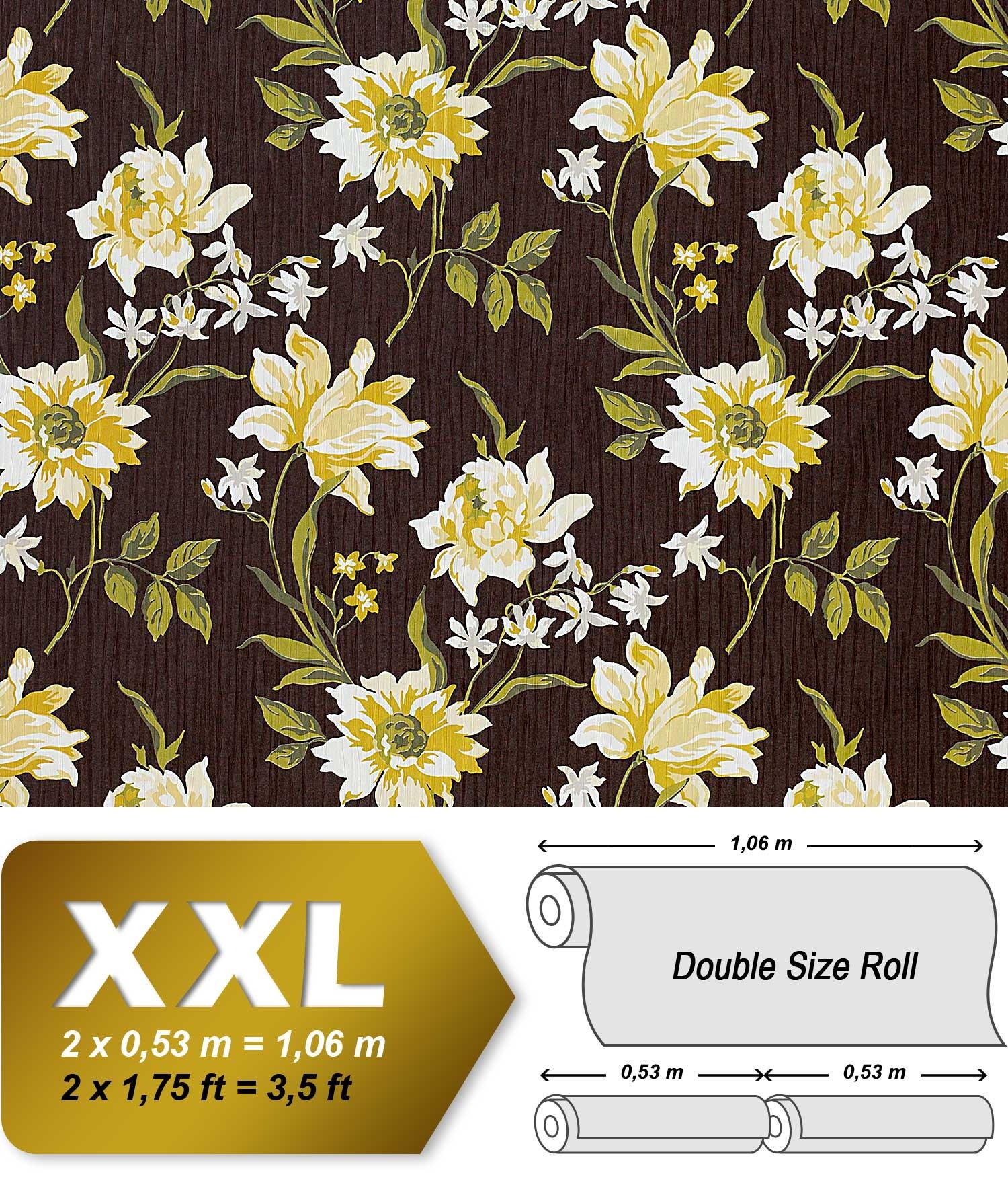 Blumen Tapete Vliestapete Landhaus Tapete EDEM 900 16 Designer Hochwertige  Textiloptik Braun Gelbgrün Weiß Oliv