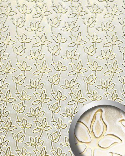 Pannello cuoio floreale WallFace 14790 FLORAL ALISE Rivestimento murale per interni autoadesivo oro bianco 2,60 mq – Bild 1