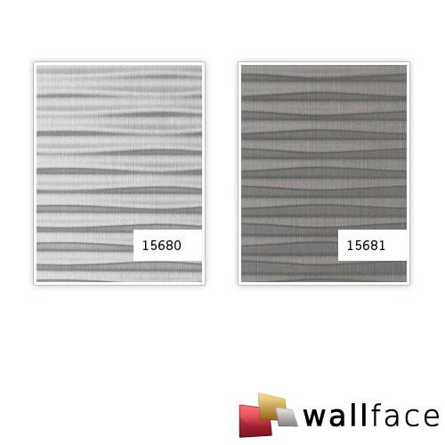 Revêtement mural auto-adhésif WallFace 15680 MOTION TWO Design Effet métal rainurée ondulée argent brossé mat 2,60 m2  – Bild 3