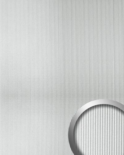 Pannello 3D struttura effetto lamiera metallica WallFace 11322 WAVE Rivestimento murale autoadesivo argento 2,60 mq – Bild 1