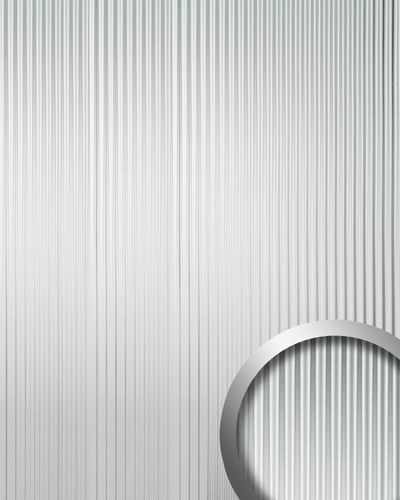 Revestimiento mural autoadhesivo con ranuras verticales M WallFace 11360 WAVE plata brillante efecto lacado 2,60 m2  – Imagen 1