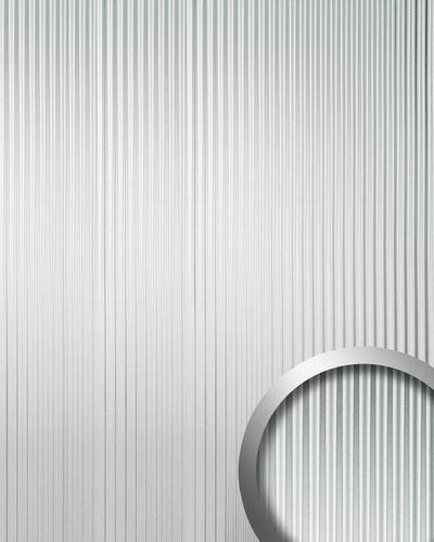 Wandpaneel 3D Rillen-Struktur WallFace 11360 WAVE Verkleidung Metalloptik selbstklebend silber | 2,60 qm – Bild 1