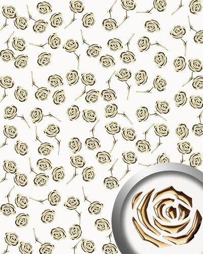 Design paneling punched flower decor metal look WallFace 16444 3D ROSE decor panel self-adhesive gold pearlwhite 2,6 sqm – Bild 1