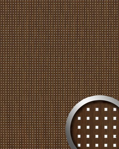 Design paneling square hole punched wood look WallFace 12540 3D QUAD wallcovering self-adhesive brown silver 2,60 sqm – Bild 1