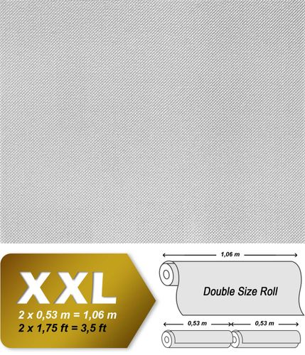 Wall covering non-woven EDEM 310-60 Wallpaper wall paintable XXL fiberglass look white  – Bild 2